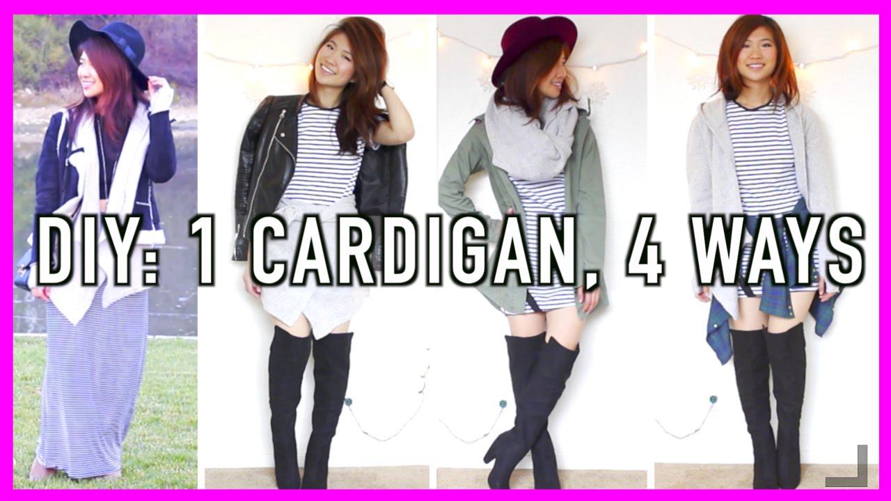 DIY: How to Wear a Cardigan 4 Ways! - YouTube
