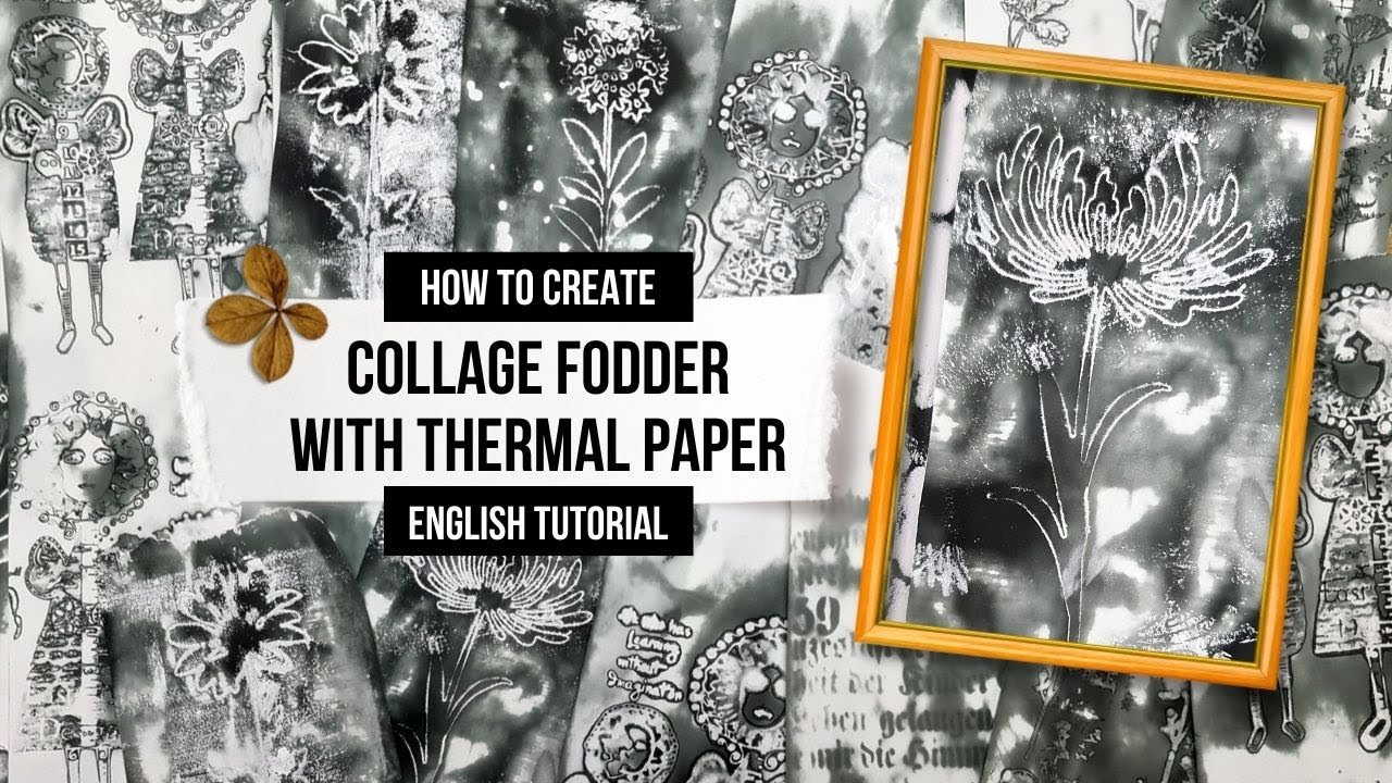 how to create collage fodder with thermal paper using stencils, die cuts, gesso & STAZON CLEANER!