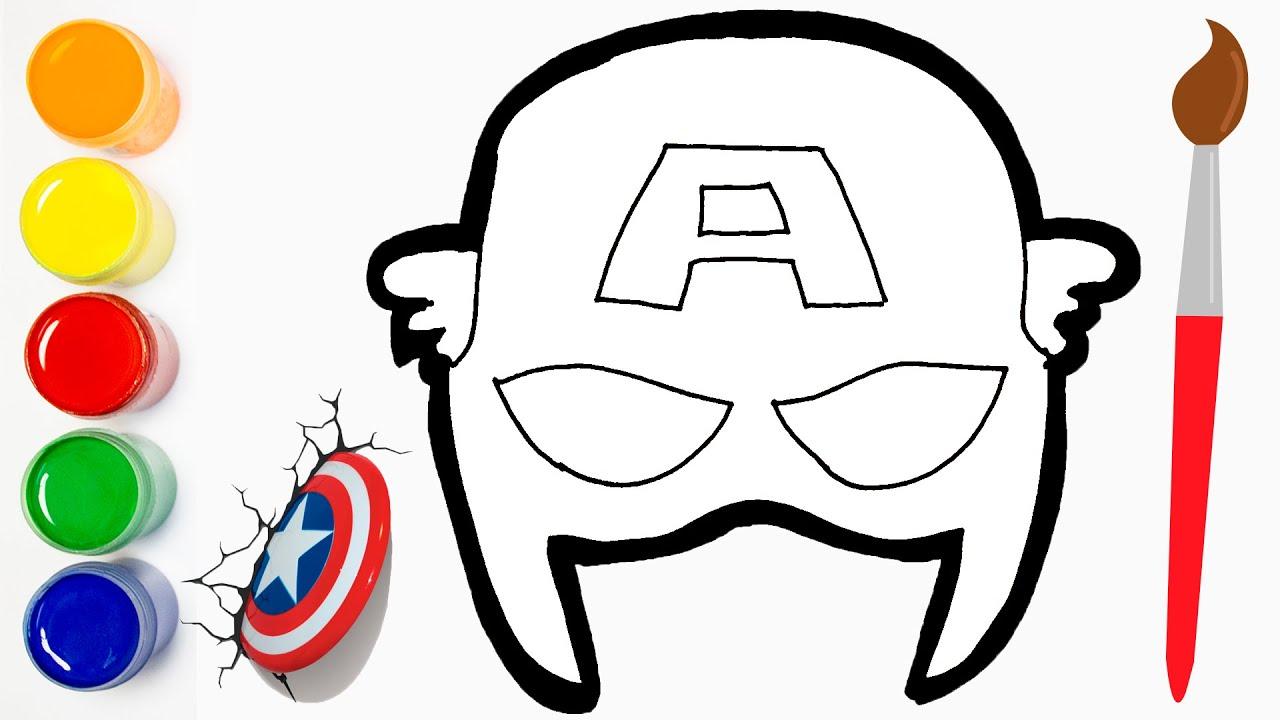 Gambar Untuk Dilukis Captain America Mask Superheros Cara Menggambar Cat Color Youtube