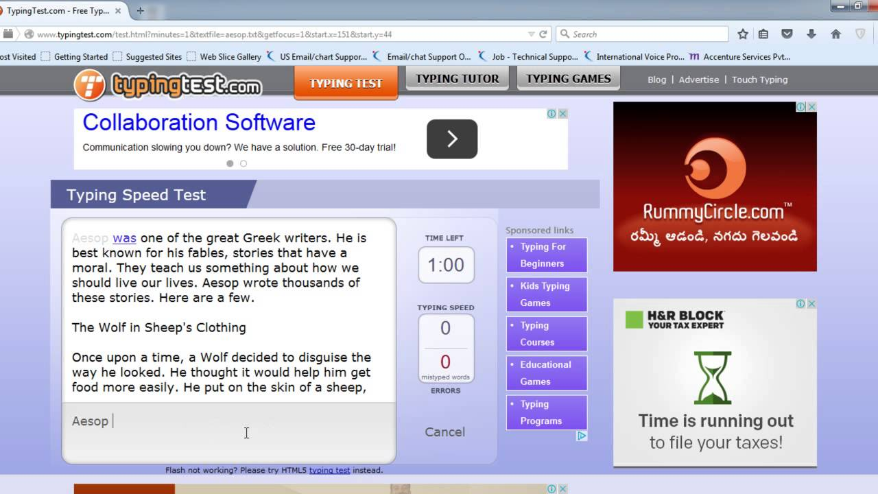 Typing Test (Aesop Fables - 1 Minute ) - 78 WPM - YouTube