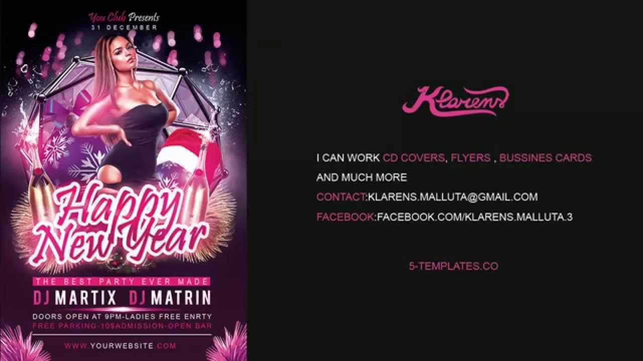 happy new year party flyer free psd template