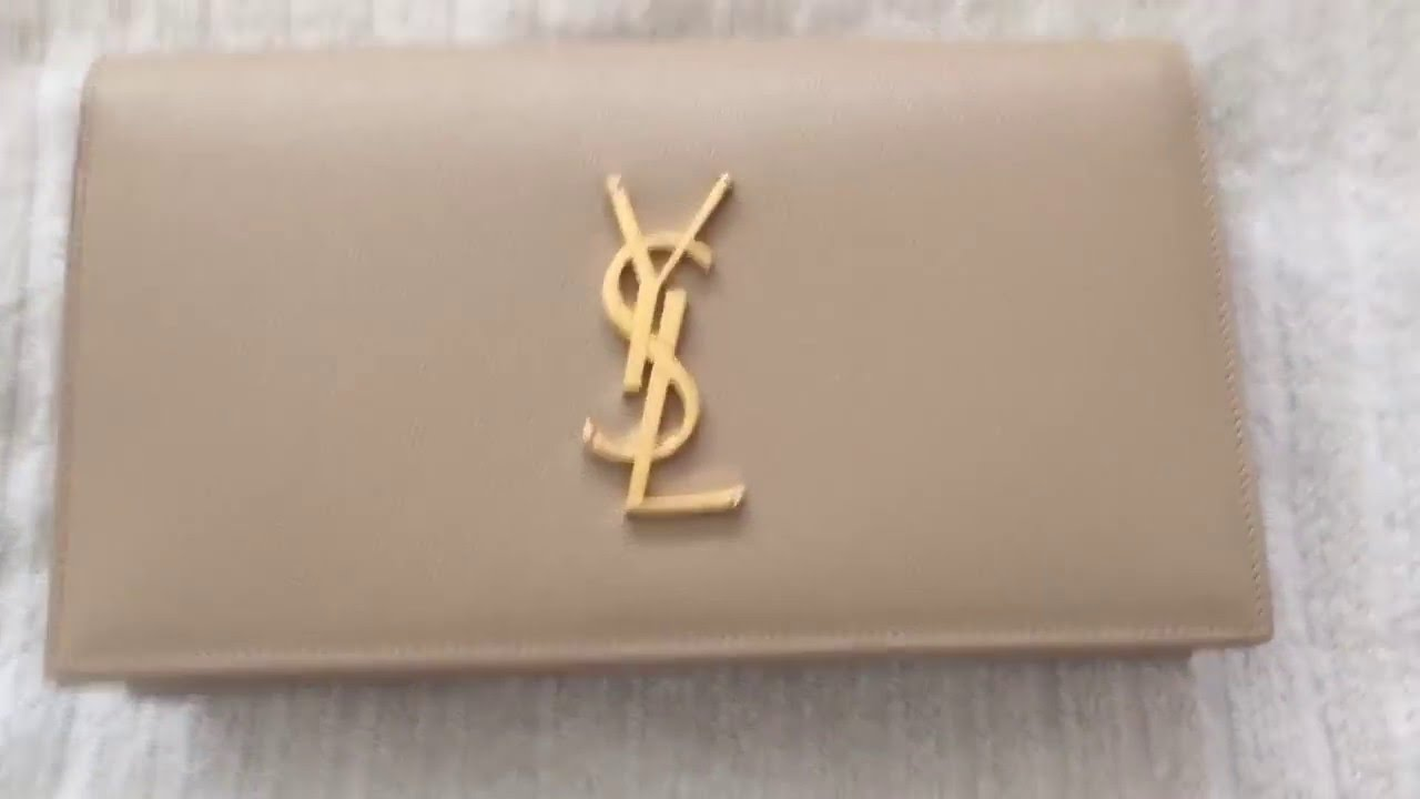f1a0e306434 Unboxing: YSL Saint Laurent Monogramme Nude Clutch - YouTube