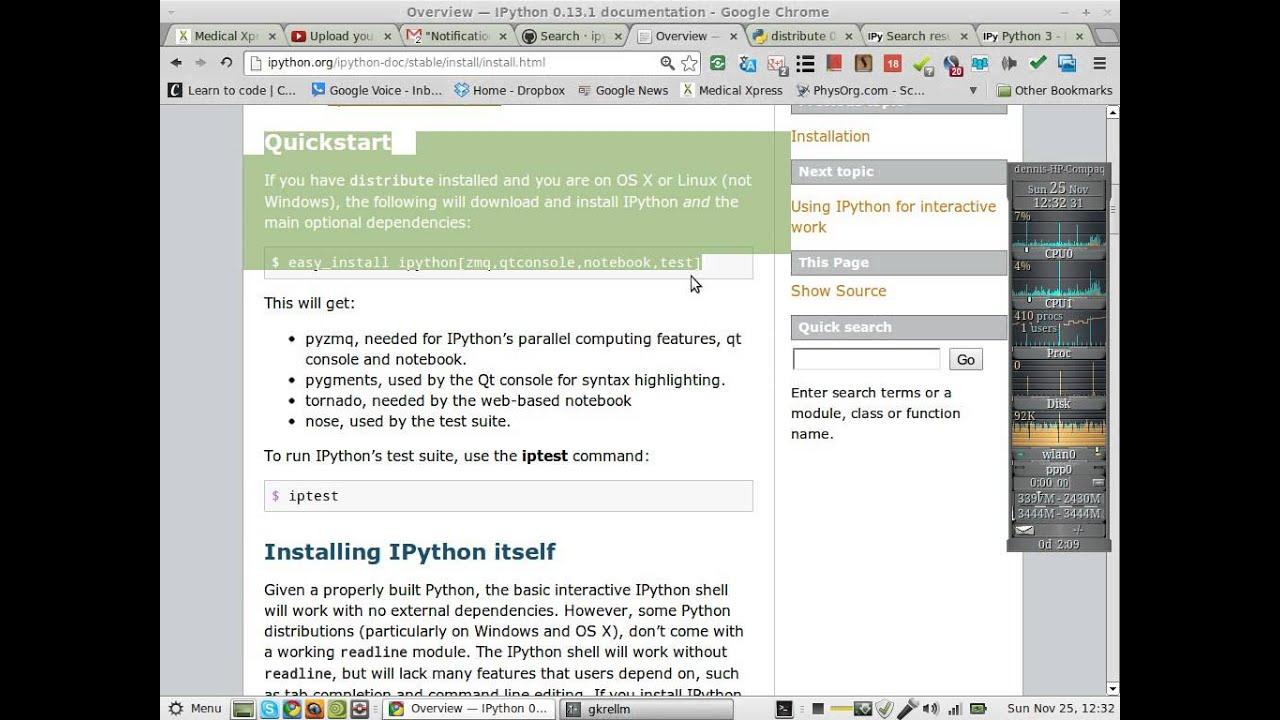 ipython user docs error report quickstart does not work ubuntu reps are not  current