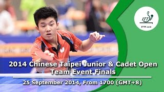 Table Tennis: 2014 Chinese Taipei Junior & Cadet Open (Team Event Finals)