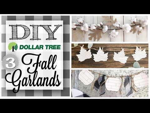 DIY Dollar Tree Fall Decor |  3 GARLANDS