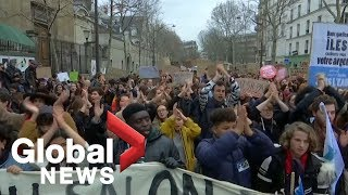 Hundreds of students march in Paris to demand action on climate change