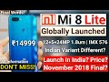 Mi 8 Lite Launch Date in India- December? Globally Launched! Price? Xiaomi Upcoming Phone Confirmed