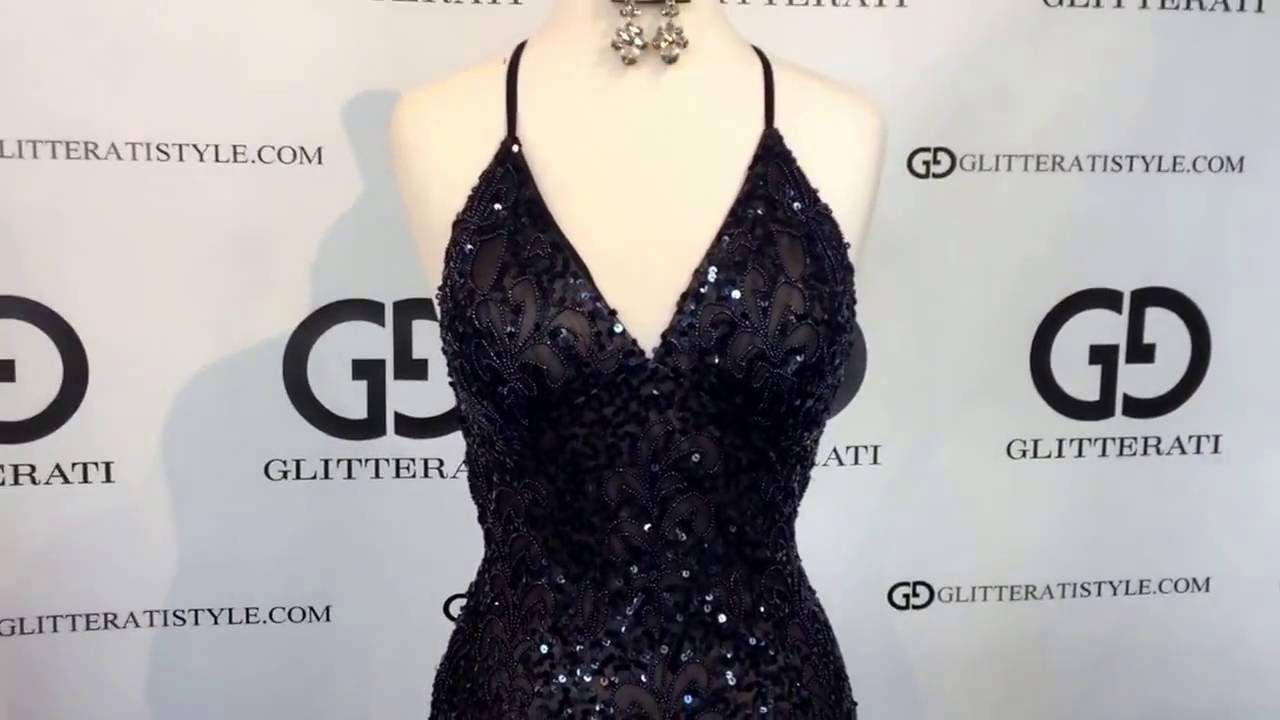 6e611c86c3c Beaded Open Back Scala Prom Dress 47542 - Navy/Nude www.Glitteratistyle.com  - YouTube