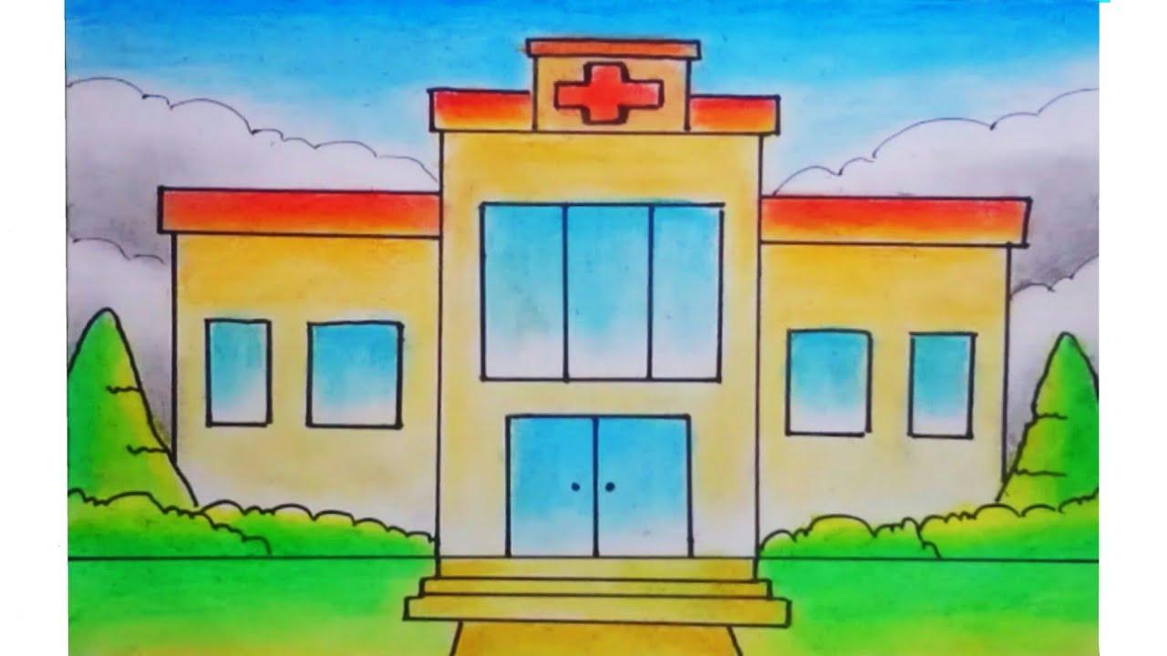 Cara Menggambar Dan Mewarnai Rumah Sakit Yg Bagus Youtube