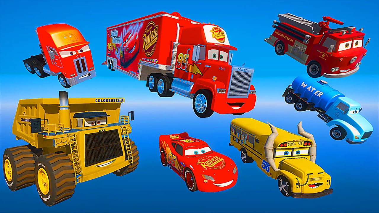 Сhallenge All Cars McQueen and Friends Truck Mack Miss Fritter Mr  Drippy Jerry Red COLOSSUS XXL
