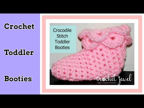 Crochet Crocodile Stitch Booties Tutorial - Toddler Size Part I ...