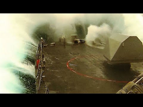 U.S. Navy ship (LCS) encounters HEAVY ROUGH WEATHER as it navigates the TREACHEROUS East China Sea!