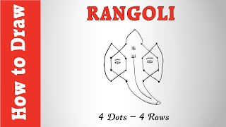 How to Draw Rangoli of Ganesha Using 4 Dots -- 4 Rows