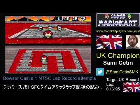 Super Mario Kart SNES Time Trial NTSC Bowser Castle 1 Lap: 0'16