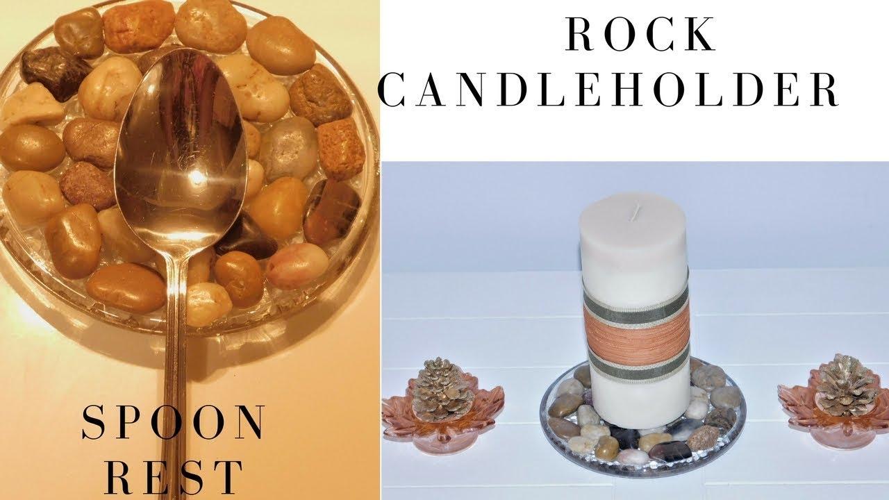 DIY | Dollar Tree Mosaic Rock Candle Holder | Mosaic Stone Spoon ...