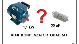 Odabir kondenzatora za monofazne elektromotore