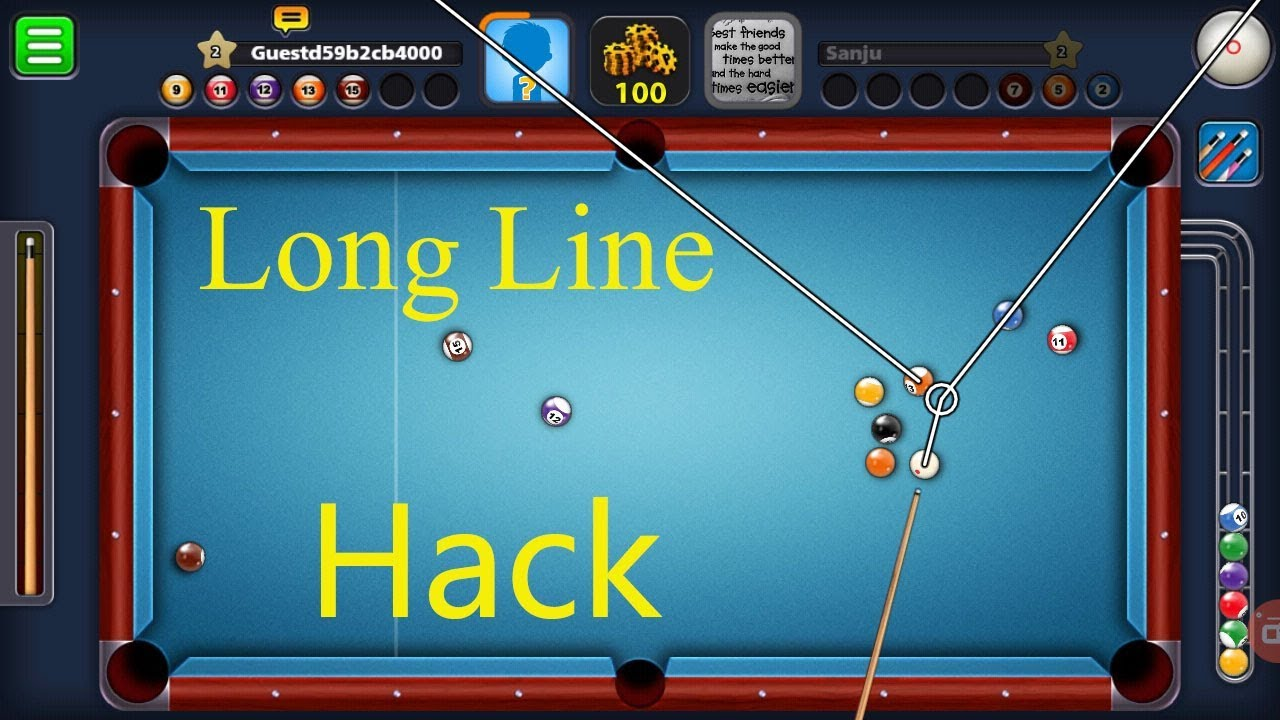 8 Ball Pool Long Line Stick Hack 100 % Work No Root. -