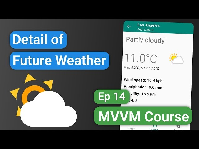 Android Kotlin: Forecast App 14 - Detail of Future Weather - MVVM Tutorial Course