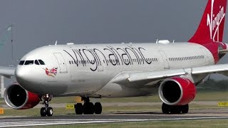 Virgin Atlantic Airbus A330-200 Departing Manchester Airport