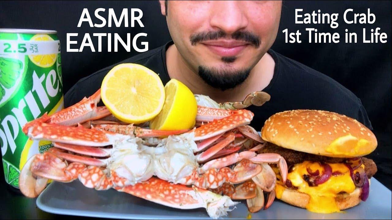 Eating Crab for the 1st Time+Double Burger | موكبانغ سلطعون أول مرة #Trending #Mukbang #ASMR #Saudia