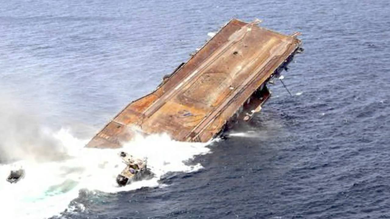 The sinking of the USS ORISKANY aircraft carrier — A