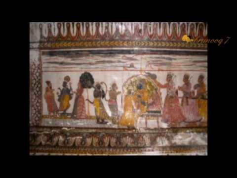 Pinturas en las bovedas Palacio de Orchha, India वाल्टों पैलेस ओरछा, भारत में चित्रों