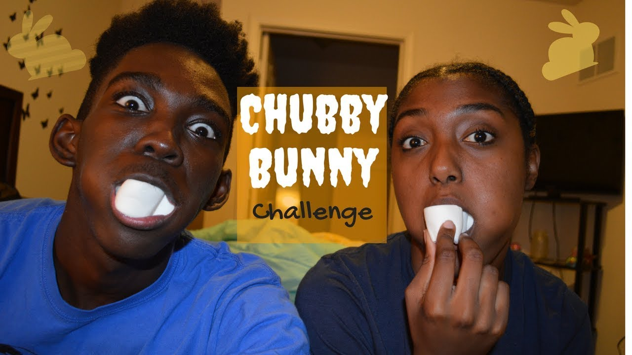 Chubby bunny stuffing marshmellows in mouth