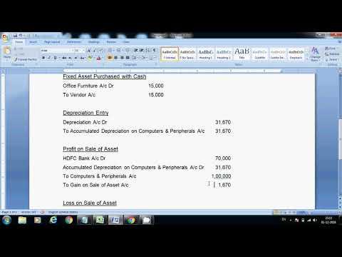 Fixed Asset Journal Entries   Depreciation Entry   Accumulated Depreciation