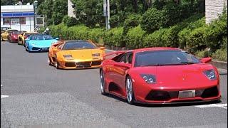 【大黒PA】F40他 スーパーカー加速サウンド/Supercars sound in Japan. Aventador, F40, Countach, Scuderia and more