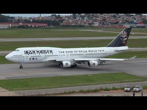Avião Iron Maiden 747-400 Decolagem em Guarulhos São Paulo