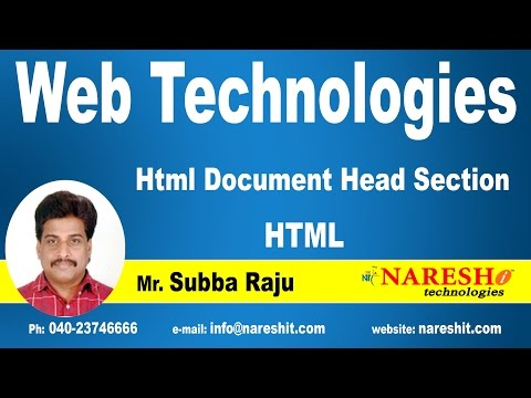 Html Document Head Section - Web Technologies | UI Technologies Tutorial | Mr.Subbaraju