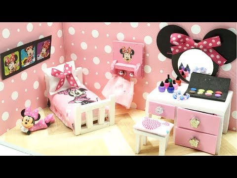 DIY Miniature Dollhouse - DISNEY MINNIE MOUSE ROOM! (NOT A KIT)