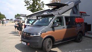 VW T6.1 2021: Terracamper TEROCK motorhome walkaround, room tour explanation, huge popup roof.