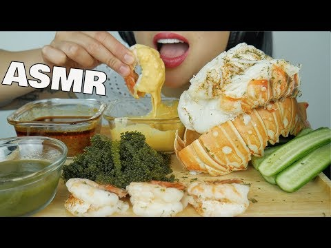 ASMR GIANT LOBSTER TAIL + SEAFOOD CHEESE SAUCE + SEAGRAPES (EATING SOUNDS) NO TALKING | SAS-ASMR