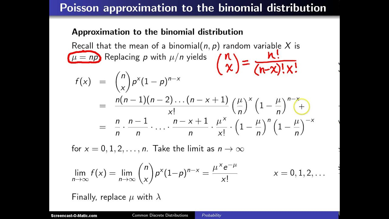 Poisson Approximation To The Binomial Distribution Youtube