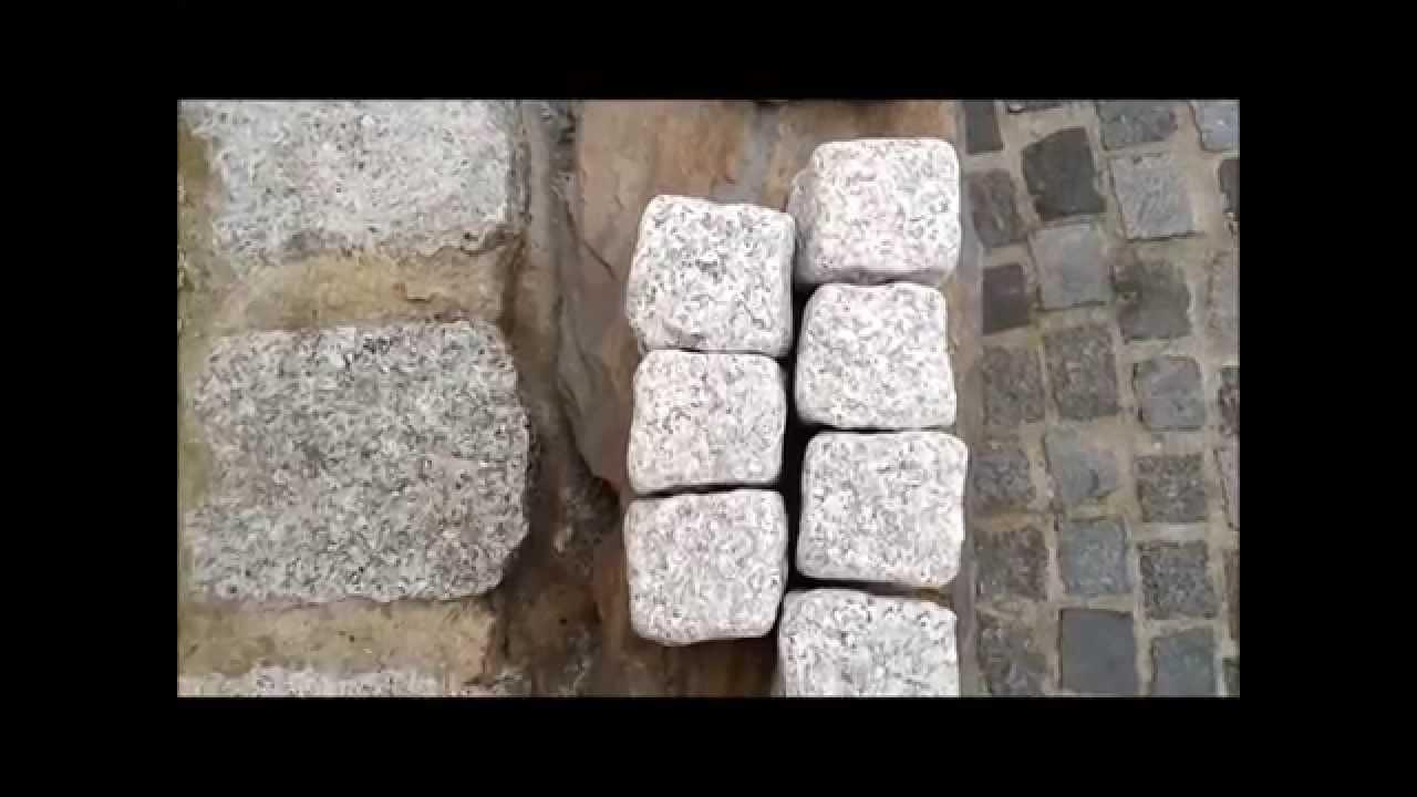 b m granity getrommelte granit pflastersteine grau rustikal ohne scharfe kanten youtube. Black Bedroom Furniture Sets. Home Design Ideas