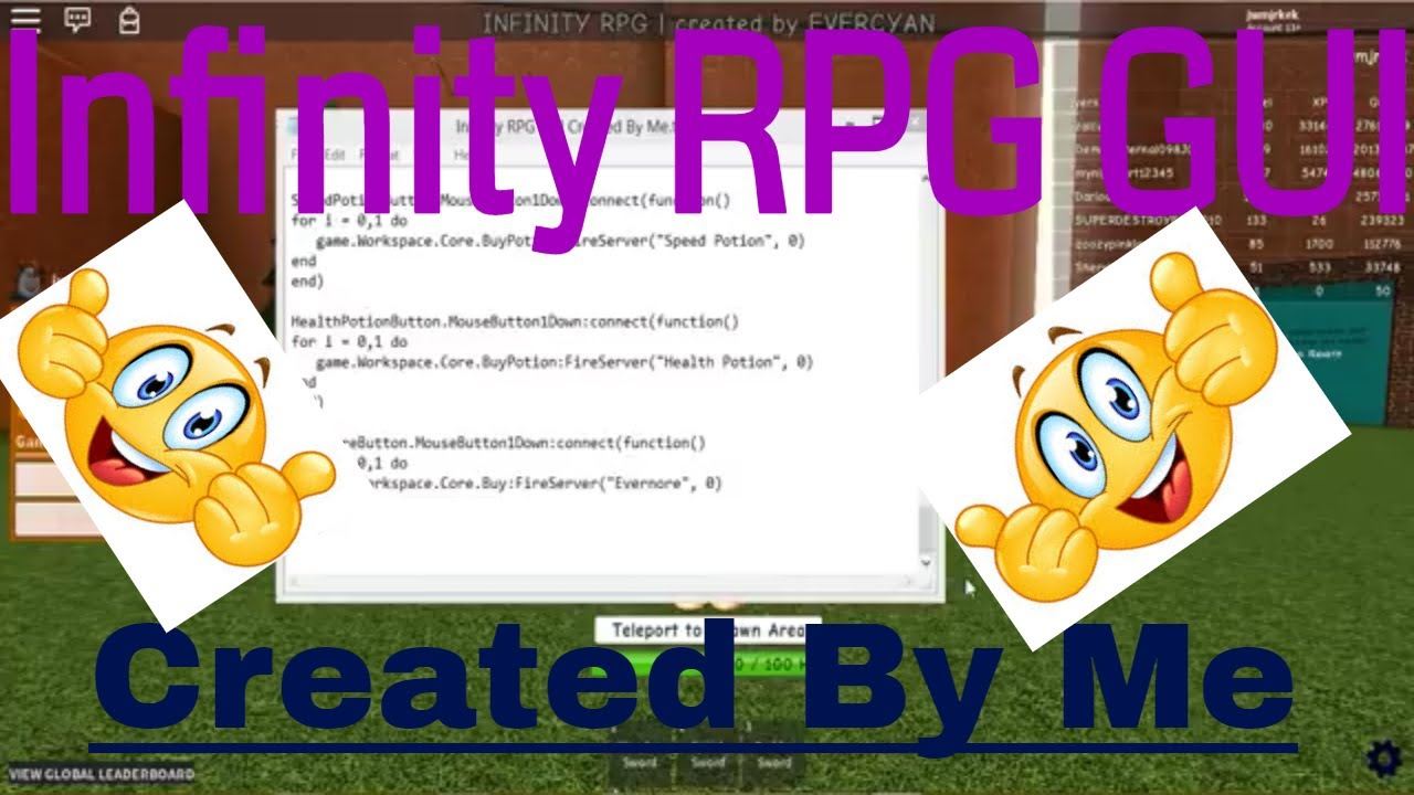 [patched]Infinity RPG GUI Hack/Script Created by Me! ( ShowCase ) SCRIPT  LINK!