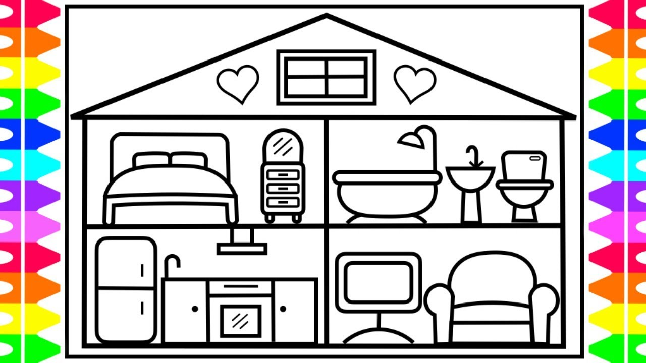 How to draw a baby doll house for kids 💖💜💛baby doll house coloring pages for kids