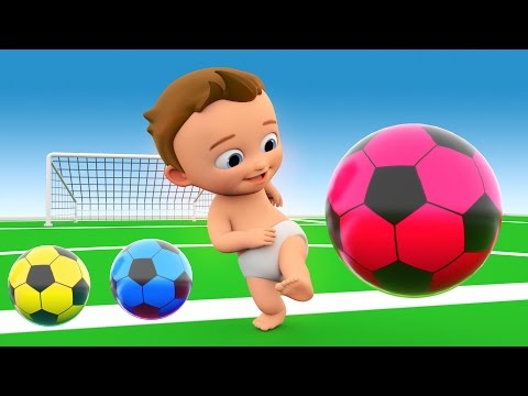 Soccer Game Play by Little Baby with Soccer Balls to Learn Colors for Children - 3D Kids Learning