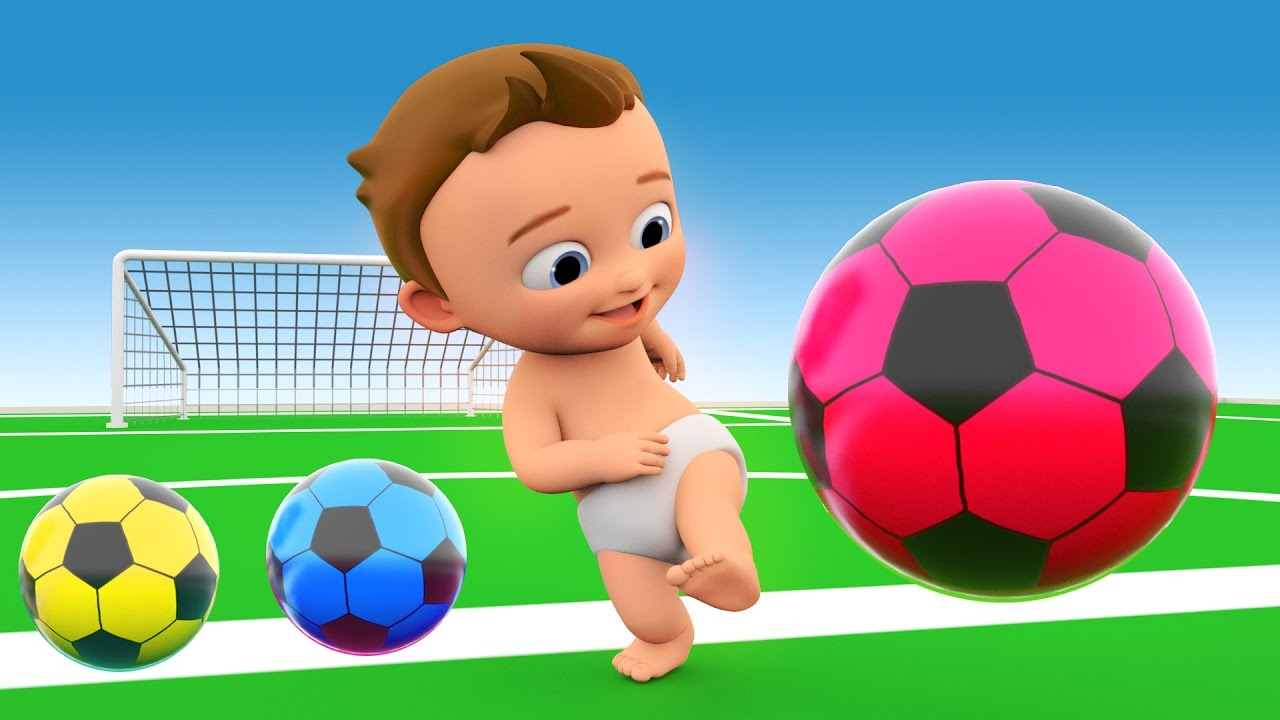 soccer game play by little baby with soccer balls to learn colors for children 3d kids. Black Bedroom Furniture Sets. Home Design Ideas