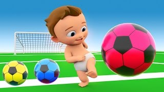 learn colors with 3d balls for children  toddlers and babies   colours with baby play soccer balls