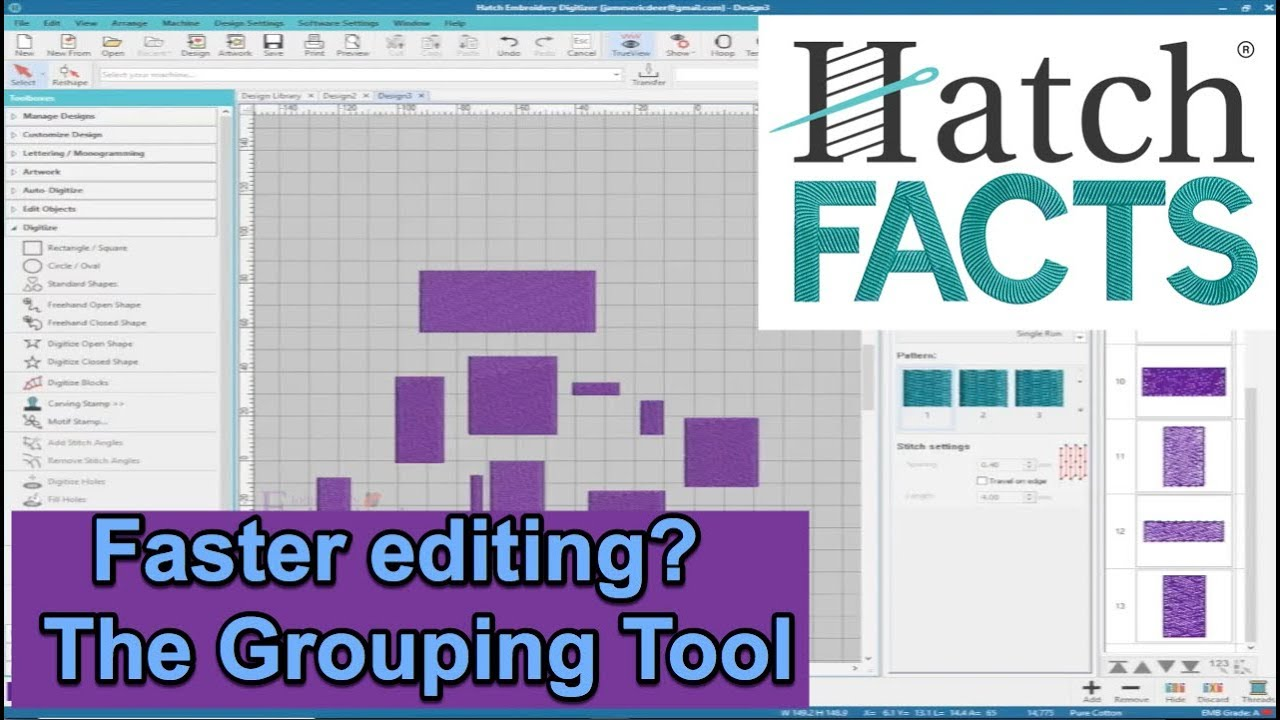 Grouping Tool - Hatch Embroidery Software Tutorial