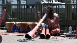 Aboriginal guys playing Didgeridoo music at Circular Quay, Sydney. HD footage