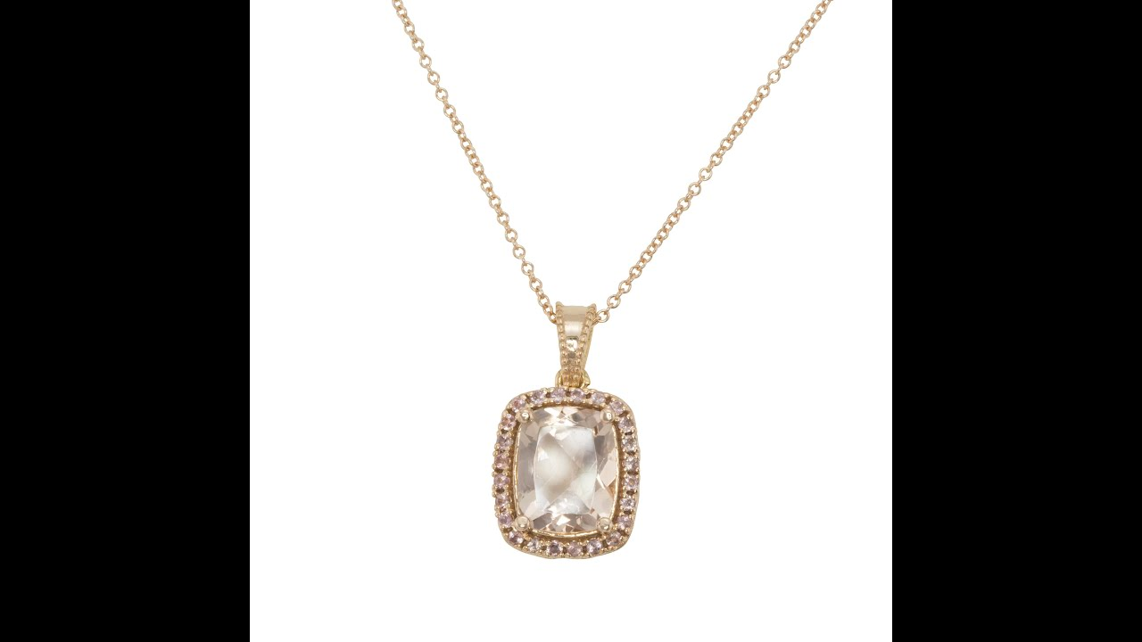 rose tw morganite pendant with diamonds in gold necklace