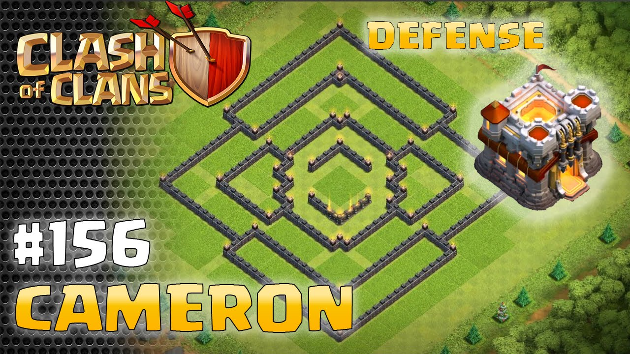 Town hall base defense layout cameron clash of clans