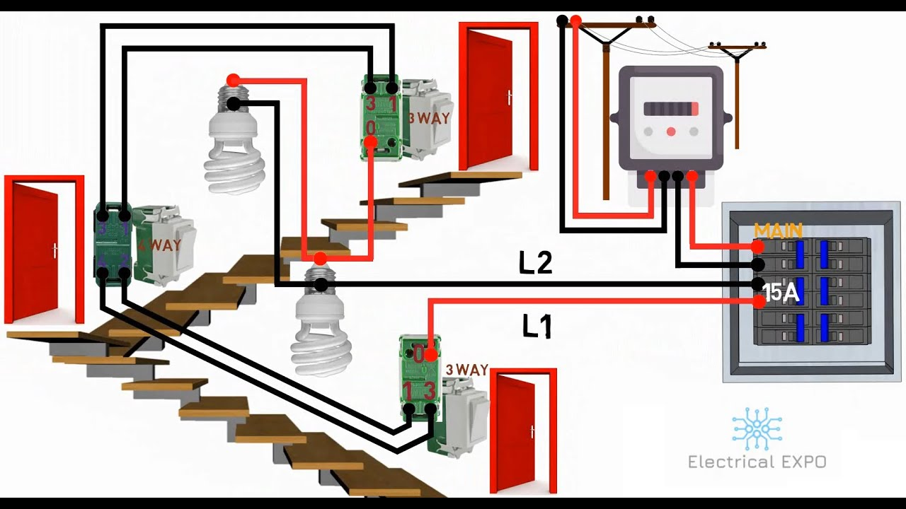 4 Way Switch Wiring Diagram Multiple Lights Tagalog Electrical Expo Youtube