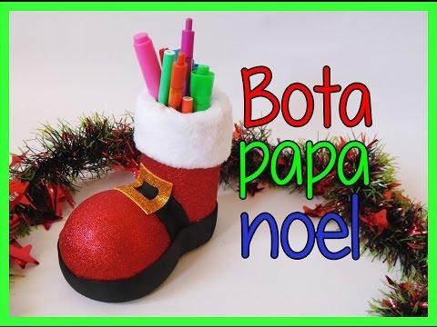 Bota de papa noel santa claus portalapices - Decoracion navidad goma eva ...