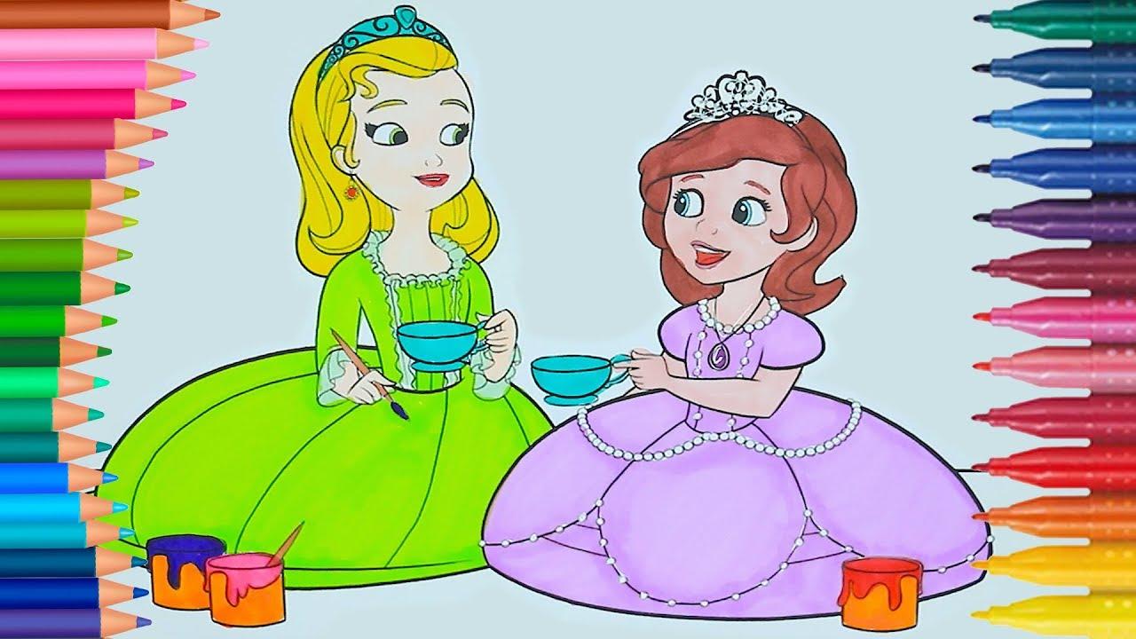 Prinzessinnen Färbung - Tee Party | Wie zeichnet und färbt | Kleine ...