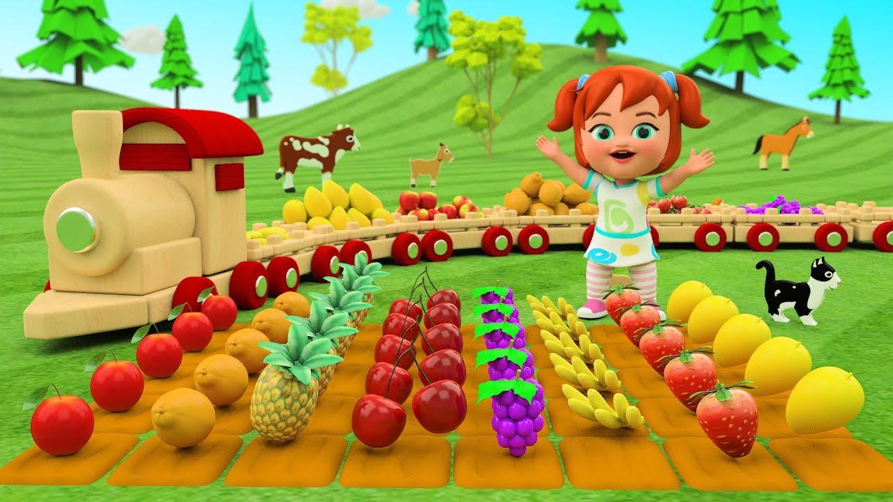 Baby Girl Learning Fruits in Farmville with a Wooden Toy Train Ride | Kids Learning Educational
