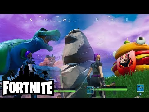 Fortnite Seaon 10 - Where To Find Burger, Stone Head Statue And Dinosaur (Road Trip Challenge)